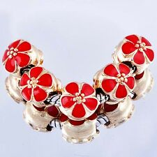 5Pcs Yellow Gold Plated Red Enamel Charms Spacer Beads Fit European Bracelet