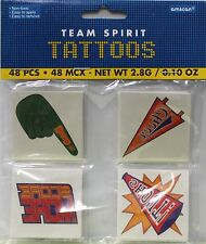 48 TEAM SPIRIT TEMPORARY TATTOOS Cheerleading Football Sports Body Art Game NEW