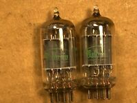 Matched Pair 1962 Sylvania 12AX7 Tubes Long Plate Super Strong Balanced H