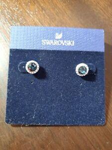 Swarovski Angelic Stud Pierced Earrings (Montana Blue) NWT $79