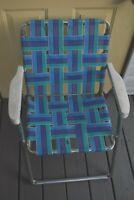 Vintage Aluminum Webbed Folding Lawn Chair Beach Patio Porch - Retro - Needs TLC