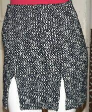 Alexander McQueen Vintage Black & White Tweed Mini Skirt With Front Splits/m