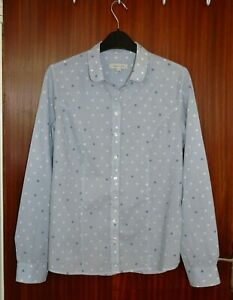 Kew 159 Ladies Blue and White Collared Shirt Blouse Size S/10 Smart 100% Cotton