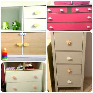 2x Colorful handpainted knobs Kids drawer pulls Cloud closet wardrobe handles