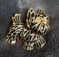 Vintage gold tone black enamel Westie Dog Brooch pin pooch puppy doggy