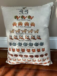New Cat LOVER'S 12 DAYS OF CHRISTMAS PILLOW COTTON FLAX BEIGE 14X18 DAvid Price