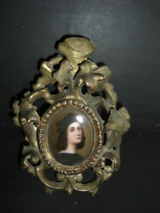 ANTIQUE SELF PORTRAIT MINIATURE OF RAPHAEL ON PORCELAIN. GILT ROCOCCO FRAME.