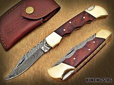 HUNTING STAG USA-DAMASCUS STEEL-POCKET KNIFE/WOOD HANDLE WITH LEATHER POUCH 6015