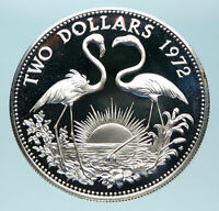 1972 The BAHAMAS Queen Elizabeth II FLAMINGO Genuine Proof Silver $2 Coin i83822