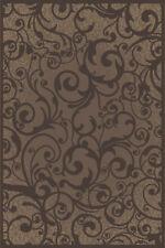 "8x8 Radici Brown Floral Swirls Curls Area Rug Round 1845 - Aprx 7' 10 x 7' 10"""