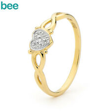 Diamond 9ct 9k Solid Yellow Gold Heart Ring Size P 7.75 23259