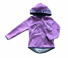 Under Armour Girls Pull Over Loose Hoodie Pink w/ Grey Logo Youth XS YXS *EEUC