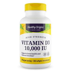 Healthy Origins Vitamin D3 10,000iu 360 Softgels Immune Health & Strong Bones