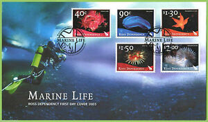 """Ross dependency (New Zealand) - """" MARINE LIFE """" FDC First Day Cover 2003 !"""