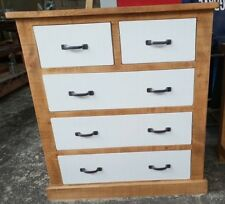 SOLID WOOD RUSTIC CHUNKY CHEST OF DRAWERS WITH PAINTED DRAWERS - WOODEN CHEST