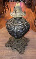Antique QUEEN ANNE No.2 OIL LAMP CRINKLE GLASS CAST IRON BASE AS-IS WORKS