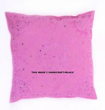 """24"""" Pink Mirror Embroidered Decorative Cushion Pillow Throw Cover Bohemian India"""