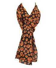 "Pumpkin Scarf Black Orange New Fall Polyester 20"" x 72"" Halloween Scarves"