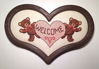 Teddy Bears Heart Welcome Sign Cross Stitch Finished Completed Framed Picture