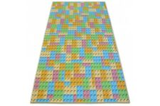 Fitted Carpet for kids LEGO Width 100-400 cm blocks pink yellow blue green
