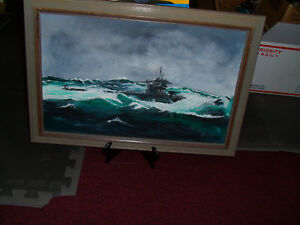 An original oil  painting of a German U-Boot on patrol in the North Atlantic