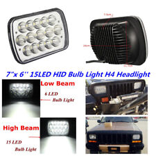 "Car 7""X6'' 15LED HID Bulb Light H4 Crystal Clear Sealed Beam Headlamp Headlight"