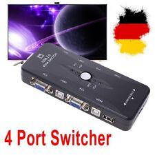 4 X fach KVM Switch Umschalter USB2.0 + VGA ( VGA, Tastatur, Maus, Monitor ) DE