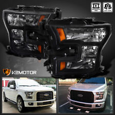 [Black] 2015-2017 Ford F150 F-150 Replacement Headlights Head Lamps Left+Right