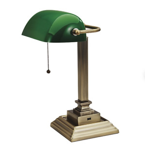 New V Light Bankers Desk Lamp with USB Port Antique Bronze Green Shade 15""