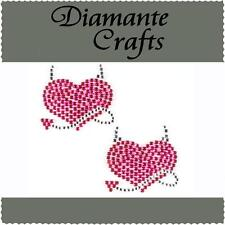 2 x 35mm Hot Pink & Clear Diamante Devil Hearts Rhinestone Vajazzle Body Art Gem