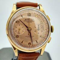 Binesa LANDERON 51 Suisse Chronograph Wristwatch 17 Rubis 18K ROSE GOLD. RUNNING