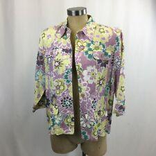 Alfred Dunner Linen Blend Floral Jacket Blazer Womens Petite 12P  Spring