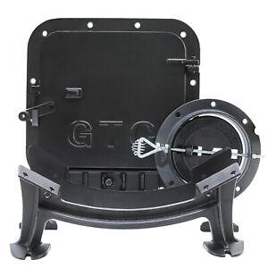 GTC Cast Iron Barrel Stove Kit Camp Farm Drum Wood Heater Fireplace Converter