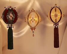 Victorian Style Christmas Tree Ornaments - Burgundy & Hunter Green Set of Three