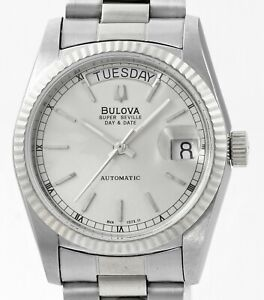 BULOVA Super Seville Day Date Stainless Steel New Old Stock Mens Wrist Watch