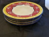 Set of 4  Pier 1 One Vallarta Hand Painted Red Floral 11.25 inch Dinner Plates