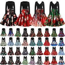Weihnachtskleid Damen Weihnachten Retro Hepburn Kleider Abend Party Swing Kleid