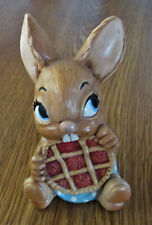 Vintage Pendelfin Rabbit With Pie Hand Painted Figurine Made In Burnley England