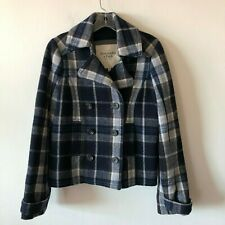 Abercrombie & Fitch Plaid Double Breasted Pea Coat Lined Crop Women's M NWOT