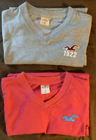 2 Small Mens Hollister V Neck T Shirts Pink And Grey