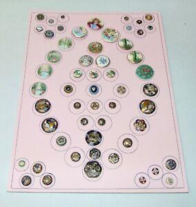 EXCEPTIONAL ANTIQUE Porcelain & Enamel Buttons COLORFUL Assorted ON CARD Lot L