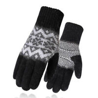 2018 Winter Men Full Finger Gloves Knitted Thick Wool Lining Mittens Driving