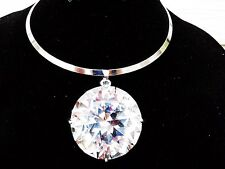 Huge Large Big Clear Gem Crystal Rhinestone Necklace Bib Pendant Choker Gold