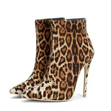 Sexy Pointed Side Zip Leopard Ankle Boots Womens Super High Stiletto Heel Bootie