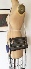 NWT REBECCA MINKOFF Metallic Black Mini Zip Crossbody Orig195
