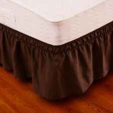 "Coffee QueenKing Size Elastic Bed Wrap Ruffle Bed Skirt Around Bed 14"" Drop New"