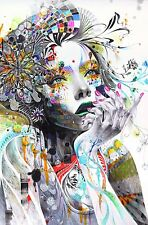 Abstract Women - Psychedelic Drawing Wall Art Large Poster / Canvas Pictures