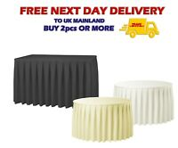 Catering Round TABLE SKIRT Polyester Tablecloth Velcro White Ivory 14 17 21FT