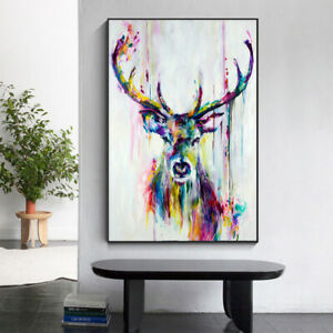 Abstract Street Graffiti Deer Oil Painting on Canvas Nordic Art Poster Wall Art