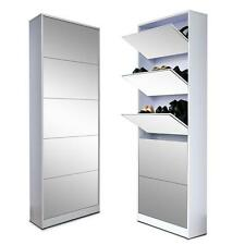 White Wood Shoe Cabinet Storage Shoe Rack cabinet with Drawer Full-length Mirror